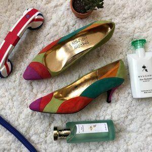 TIMOTHY HITSMAN: Multi Color VINTAGE Heels Size 9